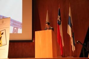 """Fabio Hernández, vicepresidente externo del CAi y coordinador general del encuentro dio el discurso inicial sobre el """"Rol de la ingeniería en Chile""""."""