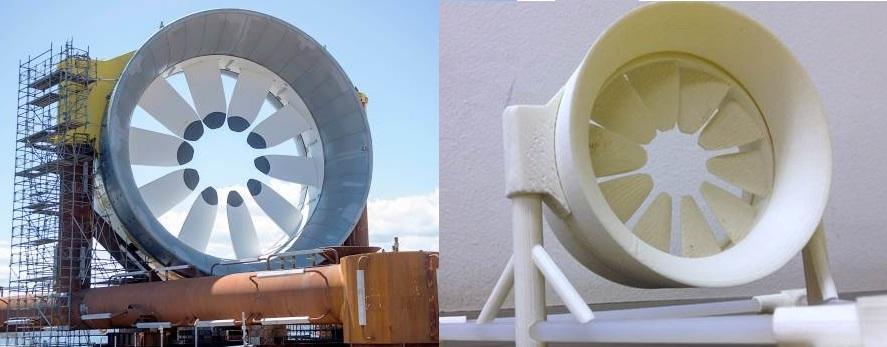 La investigación en evaluación del recurso energético de corrientes de marea requerirá nuevos modelos computacionales e investigación de laboratorio, para determinar la energía disponible y el impacto local y global en ambientes marinos.  La imagen muestra las turbinas hidrocinéticas de centro abierto, y el modelo a escala que se ha desarrollado en el departamento de Ingeniería Hidráulica y Ambiental para la investigación experimental. (créditos fotos: (a) The Canadian Press; (b) C. Escauriaza).