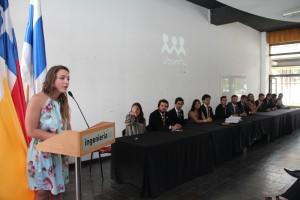 """Josefina Calonge, presidenta del CAi 2017, dando su primer discurso en la ceremonia de """"Cambio de mando""""."""